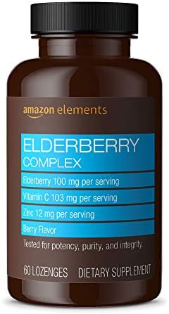 Amazon Elements Elderberry Complex, Immune System Support, 60 Berry Flavored Lozenges, Elderberry 100mg, Vitamin C 103mg, Zinc 12mg per Serving Packaging may vary