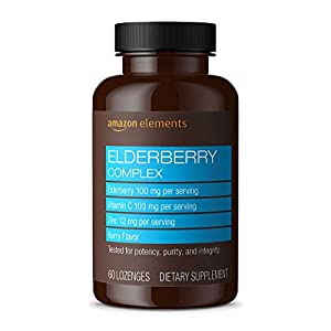 Amazon Elements Elderberry Complex, Immune System Support, 60 Berry Flavored Lozenges, Elderberry 100mg, Vitamin C 103mg…