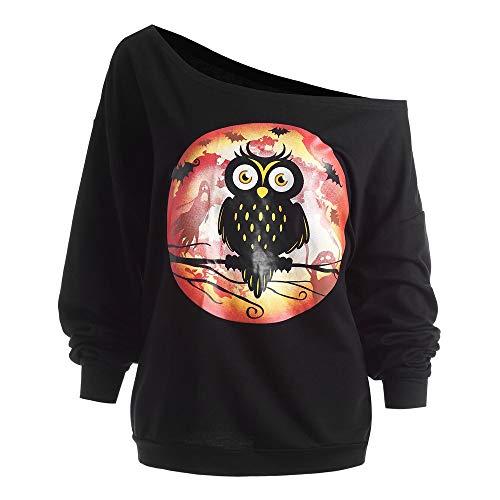 (iLOOSKR Women's Plus Size Halloween Long Sleeve Owl Skew Neck Print Sweatshirt Pullover Tops Blouse Shirt)