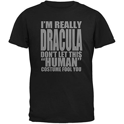 Halloween Human Dracula Costume Black Adult T-Shirt - 2X-Large