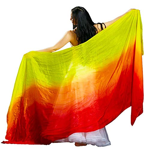 - Women Hand Made 100% Silk Belly Dance Veils and Hand Scarves Fire Flame Color 19090CM (Red Orange Yellow)