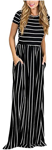 Sheshares Maxi Long Striped Dress with Pockets Round Neck Short Sleeve Classic Black White