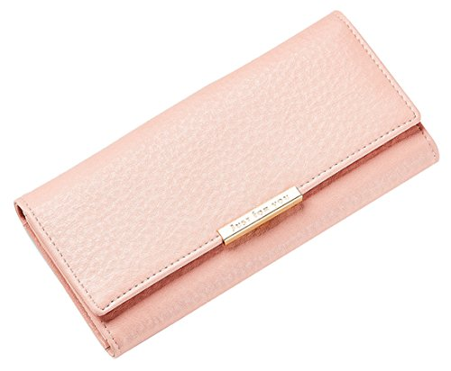 - femaroly Soft Leather Trifold Multi Card Holder Wallet Clutch Long Purse for Women Ladies Pink