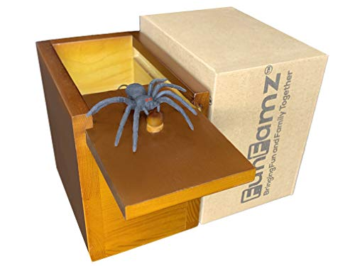 FunFamz The Original Spider Prank Box-Dark Honey Color Stain Hilarious Wooden Box Toy Prank, Funny Money Gift Box Surprise Toy, and Fathers Day Gag Gift Prank]()