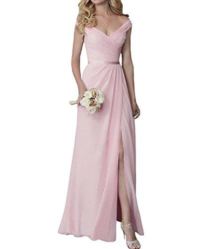 off shoulder chiffon bridesmaid dress - 9