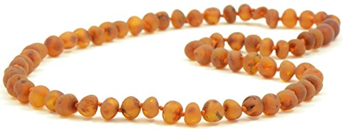 Raw Amber Necklaces for Adults - 21.6 inches (55 cm) - Cognac Color - Hand-Made from Unpolished / Authentic Baltic Amber Beads {0007}
