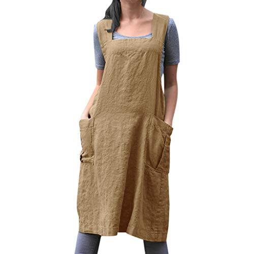 Hurrybuy Womens Cotton Linen Dresses Cross Apron Garden Work Mini ()