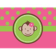 CAKEUSA MOD Monkey Girl Baby Shower Birthday 1/2 Size Frosting Sheet Cake Topper Edible Image