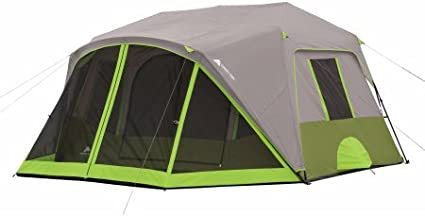 9 Person Instant Cabin Tent with 2 Room and Screen Room Plus rainfly with factory sealed seams in Gray//Green