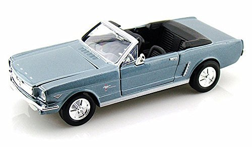 (1964.5 Ford Mustang Convertible, Blue - Motormax Premium American 73212 - 1/24 Scale Diecast Model Car)
