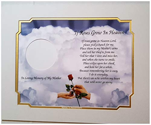In Memory of Mom (Mother) If Roses Grow In Heaven Memorial Poem Hands with Red Rose