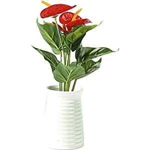 WEEGCN 2 Bundles Artificial Fake Flowers Faux Greenery Shrubs Outdoor UV Resistant Faux Anthurium Flower Plastic Bouquet Bushes Plant for Dining-Table Wedding Home Party Patio or Yard Decoration 119