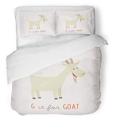 Emvency 3 Piece Duvet Cover Set Brushed Microfiber Fabric Breathable Colorful Flat Cartoon White Goat G is for Clipart Drawing ABC Alphabet Animal Bedding Set with 2 Pillow Covers Full/Queen Size