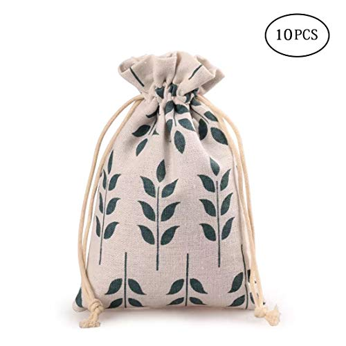 - 10PCS Burlap Favor Gift Bags with Drawstring and Cotton Lining (13X18CM, Leaf)