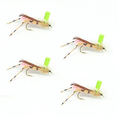 (Button Top Hopper Dry Fly Fishing Fly Foam Body High Visibility Grasshopper - 4 Flies - Hook Size 10 - Hopper Dropper Indicator Fly)