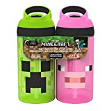 Zak Designs MICB-T470 Minecraft Water Bottles, 16 oz, Creeper/Pig