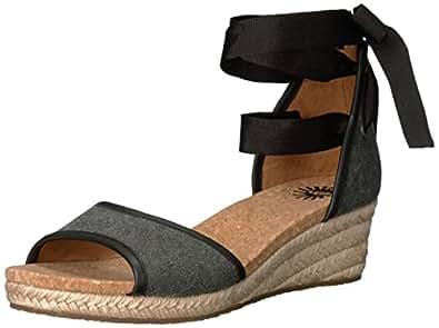 UGG Women's Amell Wedge Sandal, Black, 5 US/5 B US