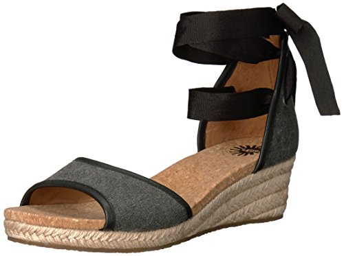 UGG Women's Amell Wedge Sandal, Black, 8.5 B (Ugg Women Sandals)
