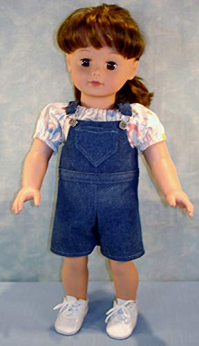 18 Inch Doll Clothes - Denim Overalls and Blouse Outfit handmade by Jane Ellen to fit 18 inch dolls