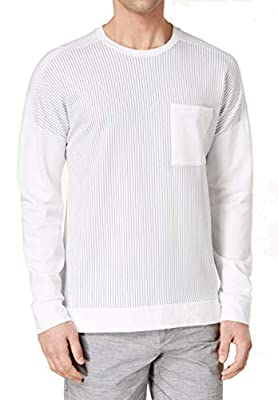 Calvin Klein Mens Stripe Slim Fit Crewneck Sweater White XL