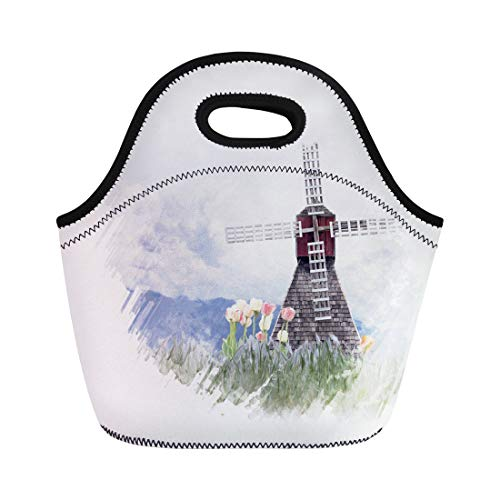 Semtomn Neoprene Lunch Tote Bag Blue Bloom Digital Painting of Windmill and Tulips Watercolor Reusable Cooler Bags Insulated Thermal Picnic Handbag for Travel,School,Outdoors, Work