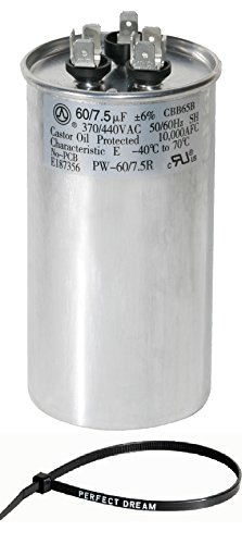 PowerWell 60+7.5 uf MFD 370 or 440 Volt Dual Run Round Capacitor Bundle PW-CAP-60/7.5/440R Condenser Straight Cool/Heat Pump Air Conditioner and Zip Tie by PowerWell