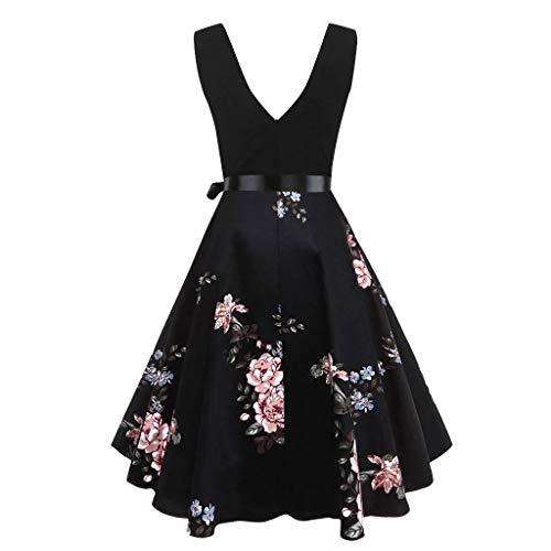 Landfox Crazy, Dress, Women's Sleeveless Flare Party and Evening Dress Pink -