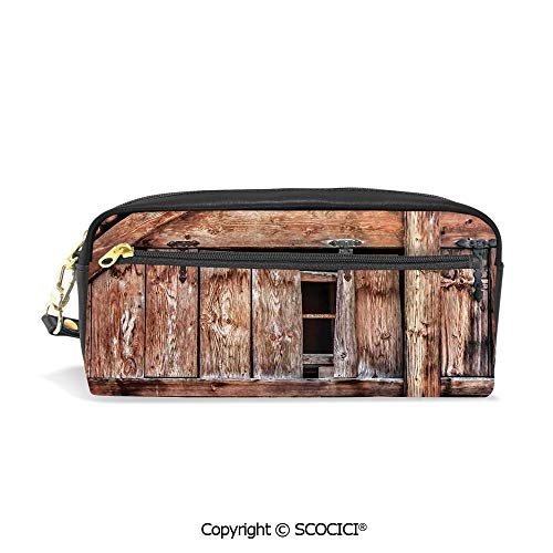 Fasion Pencil Case Big Capacity Pencil Bag Makeup Pen Pouch Abandoned Damaged Oak Barn Door with Iron Hinges and Lateral Cracks Knock Theme Durable Students Stationery Pen Holder for - Oak Iron Mini Holder