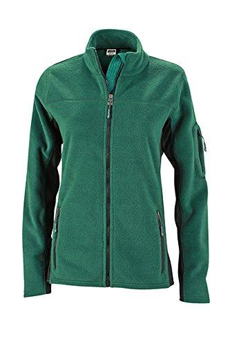 James & Nicholson–Workwear Forro polar Jacket Chaqueta verde oscuro/negro