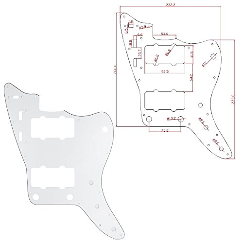 Kmise MI0223 White Guitar Pickguard for Fender Jazz Master Replacement 3 Ply Scratch Plate