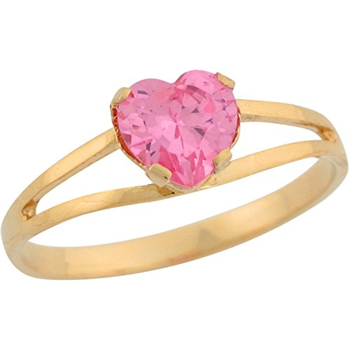 Jewelry Liquidation 14k Yellow Gold Heart Shape Pink CZ Simulated Birthstone Split Shank Love Ring