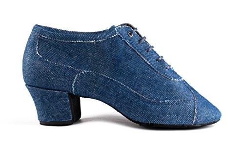 PortDance Damen Tanzschuhe/Trainerschuhe PD704 - Denim Blau - 4 cm Cuban