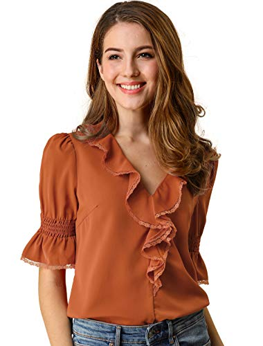 Allegra K Women's Ruffle V Neck Half Bell Sleeve Blouse Summer Vintage Casual Chiffon Peasant Top L Brown Red ()