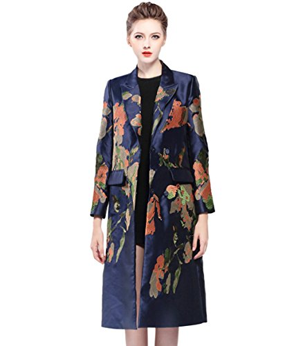 Embroidered Trench Coat - Tortor 1Bacha Women Lady Notched Collar Embroidered Long Trench Coat Jacket Blue 12