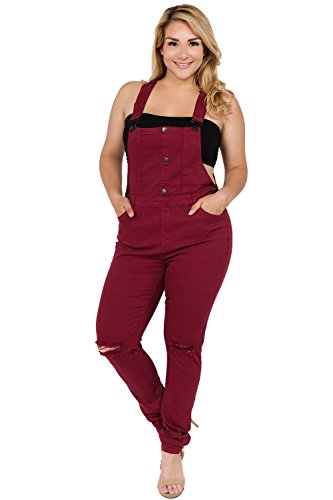 TwiinSisters Women's Plus Size Natural Curve Enhancing Slim Fitted Overalls with Comfort Stretch (2X, Burgundy #rjho926)