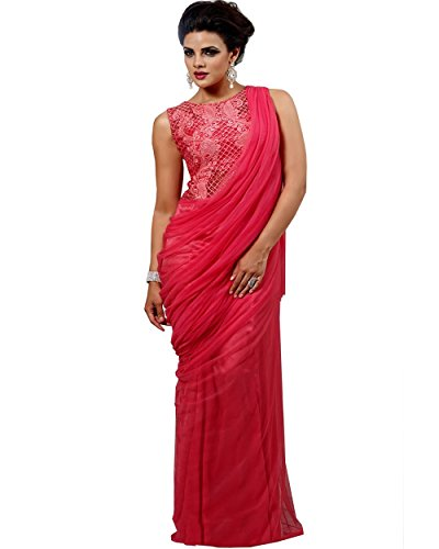 - Exclusive Rosy Pink Saree Gown