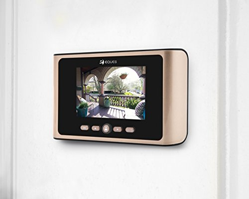 Greeter Plus Digital Door Viewer & Doorbell - LCD Security Camera Monitor 165° Wide Angle Lens Video Record Photo Shooting - with Motion Sensor - No APP - Peephole Needed (Gold Earth - Plus)