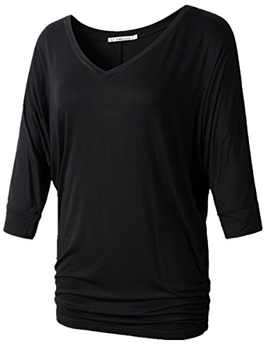 JollieLovin Womens V Neck Shirt Dolman Sleeves Side Shirring Drape Top
