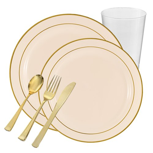 Posh Party Supplies | Rimini Ivory with Gold Edge VALUE Plastic Tableware Package for 20 Guests | Dinner & Dessert Plates, Plastic Tumblers & Plastic Silver Cutlery | 120 Piece Total