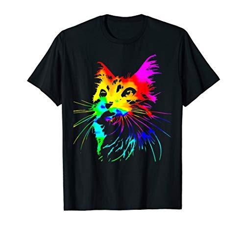 Cool Tie Dye Cat T-shirt - Colorful Rainbow Cat T-shirt ()