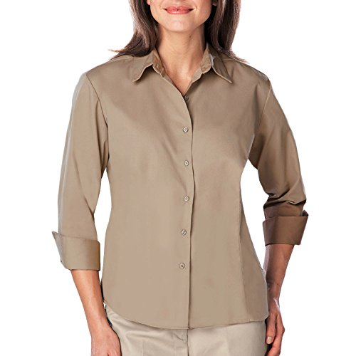 - Blue Generation BG6260 - Ladies 3/4 Sleeve Easy Care Poplin with Matching Buttons (4XL, Tan)