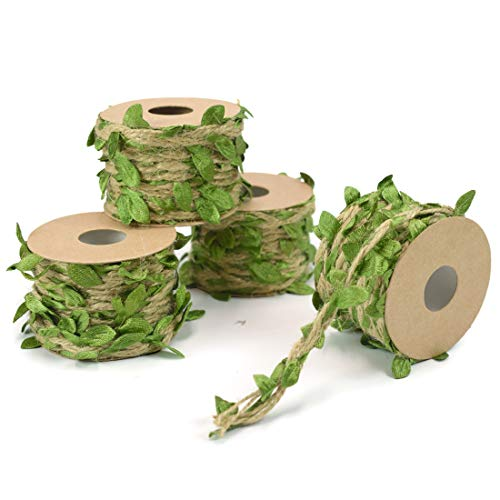 ZIIYAN 4 Rolls Artificial Vine Natural Hemp Rope Fake Green Ivy Leaves Foliage Leaf Plant for Macrame Wall Decor Garland Rustic Wedding Home Garden Decor Party Supplies, 16.5Ft/Roll, Total 66 Feet from ZIIYAN