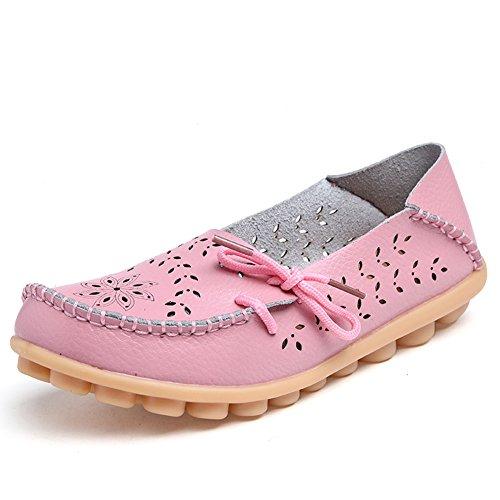 Lucksender Frauen aushöhlen Carving Casual Leder Fahren Flache Loafers Schuhe Rosa