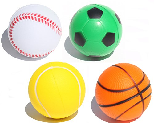 4 Sporty Squeeze Ball (Soccer Basket Tennis Base Ball) Stress Relief Finger Therapy After Hand Exercise Grip Ball