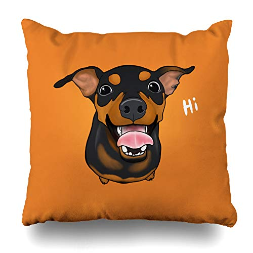 Suesoso Decorative Pillows Case 18 X 18 Inch Happy Min Pin Miniature Pinscher Throw Pillowcover Cushion Decorative Home Decor Garden Sofa Bed Car