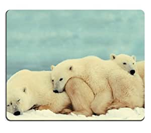 Polar Bear Group White Snow Sleeping Animal Mouse Pads Customized Made to Order Support Ready 9 7/8 Inch (250mm) X 7 7/8 Inch (200mm) X 1/16 Inch (2mm) High Quality Eco Friendly Cloth with Neoprene Rubber Luxlady Mouse Pad Desktop Mousepad Laptop Mousepads Comfortable Computer Mouse Mat Cute Gaming Mouse pad