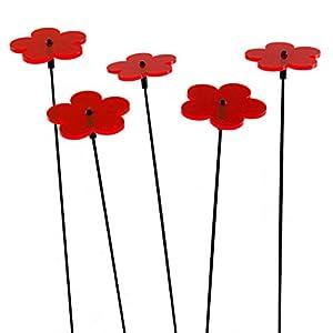 SUNPLAY Sonnenfänger-Blumen in ROT, 5 Stück zu je 5 cm Durchmesser im Set +...