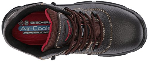 Skechers Mens Burgin-sosder Industrial Boot Marrone In Pelle Goffrata
