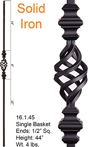 (Satin Black 16.1.45 Single Basket with Knuckles Iron Baluster for Staircase Remodel, Box of 5)