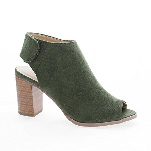 Heel Hook Sling Peep Toe And Back Mule Loop Khakisued Sandals gwx1BS0n